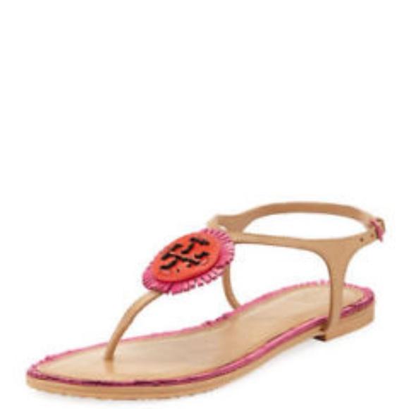 49e953f61f2b Tory Burch Miller Fringe Sandal in Dusty Cypress
